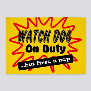 Watch Dog On Duty 5'x7'Area Rug