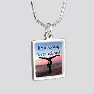 GYMNAST INSPIRATION Silver Square Necklace