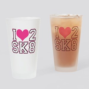 Love to Skate (Pink/Blk) Drinking Glass