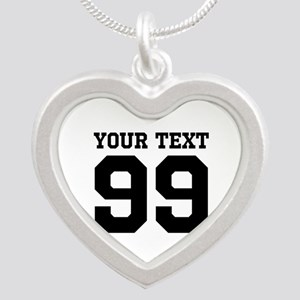Custom Heart Shape Sports Jersey Number Necklaces
