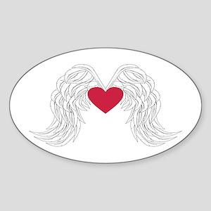 angel wings with heart Sticker