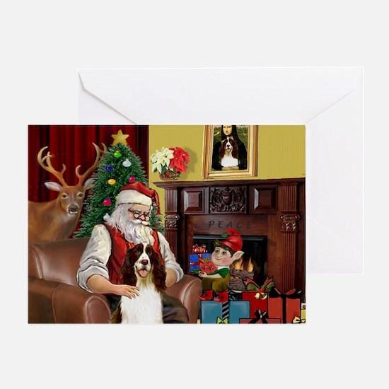 Santa & His Springer Greeting Card