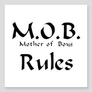 "MOB Rules Square Car Magnet 3"" x 3"""
