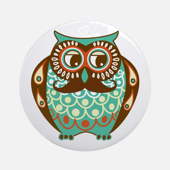 Fat Owl with Mustache Ornament (Round)