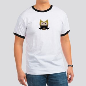 Golden Owl with Mustache Ringer T