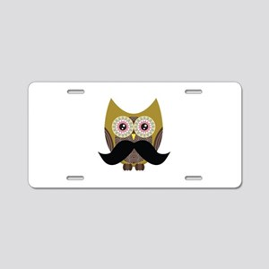 Golden Owl with Mustache Aluminum License Plate