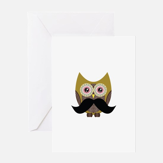 Golden Owl with Mustache Greeting Card