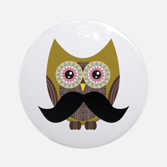 Golden Owl with Mustache Ornament (Round)