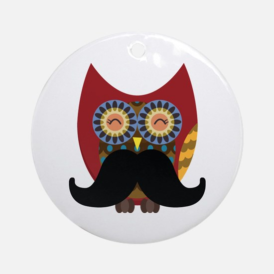 red owl with mustache Ornament (Round)