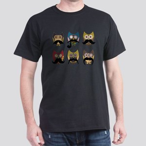 Cute owls with mustaches Dark T-Shirt