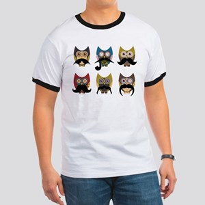 Cute owls with mustaches Ringer T