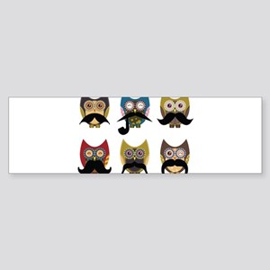 Cute owls with mustaches Sticker (Bumper)