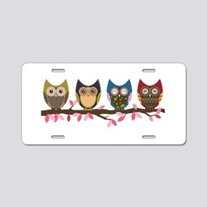 Owls on a branch Aluminum License Plate