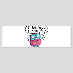 I believe I can fly owl Sticker (Bumper)