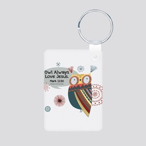 Owl Always Love Jesus Owl Aluminum Photo Keychain