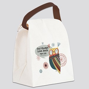Owl Always Love Jesus Owl Canvas Lunch Bag