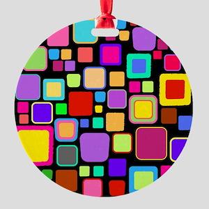 square pattern Round Ornament
