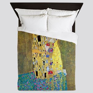 The Kiss by Gustav Klimt, Vintage Art Queen Duvet