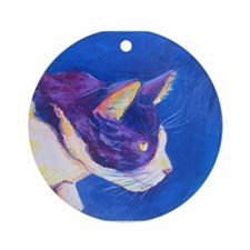 Sunset Tuxedo Cat Art Ornament (Round)