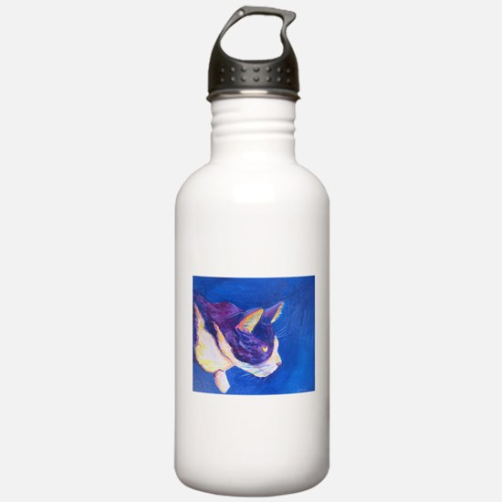 Sunset Tuxedo Cat Art Water Bottle