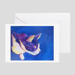 Sunset Tuxedo Cat Art Greeting Cards