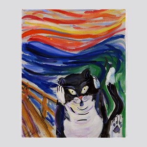 The Kitty Scream Art Throw Blanket