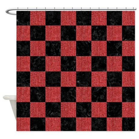 SQUARE1 BLACK MARBLE & RED DENIM Shower Curtain