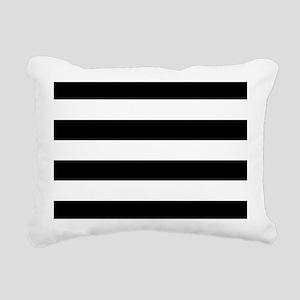 Black & White Stripes Rectangular Canvas Pillow
