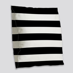 Black & White Stripes Burlap Throw Pillow