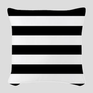Black & White Stripes Woven Throw Pillow