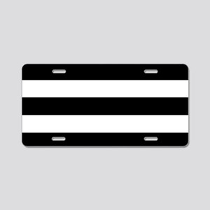 Black & White Stripes Aluminum License Plate