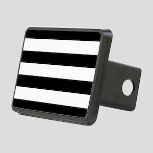 Black & White Stripes Rectangular Hitch Cover