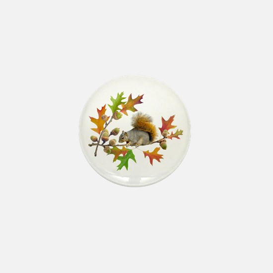 Squirrel Oak Acorns Mini Button