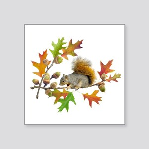 "Squirrel Oak Acorns Square Sticker 3"" x 3"""