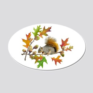 Squirrel Oak Acorns 20x12 Oval Wall Decal