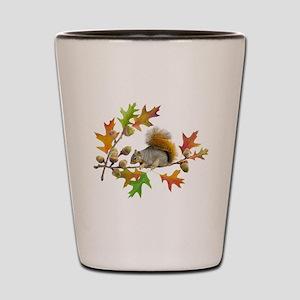 Squirrel Oak Acorns Shot Glass