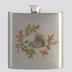 Squirrel Oak Acorns Flask