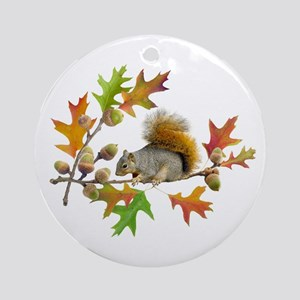 Squirrel Oak Acorns Ornament (Round)