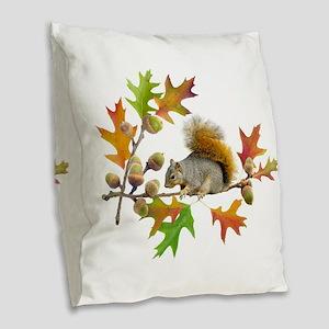 Squirrel Oak Acorns Burlap Throw Pillow