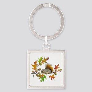 Squirrel Oak Acorns Square Keychain