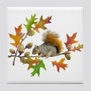 Squirrel Oak Acorns Tile Coaster