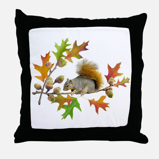 Squirrel Oak Acorns Throw Pillow