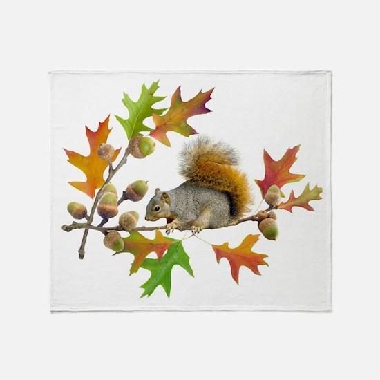 Squirrel Oak Acorns Throw Blanket