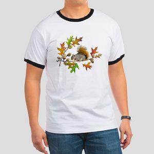 Squirrel Oak Acorns Ringer T