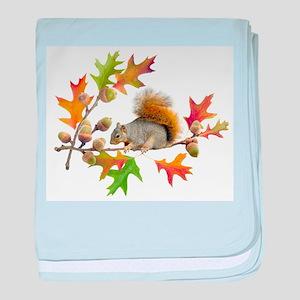 Squirrel Oak Acorns baby blanket