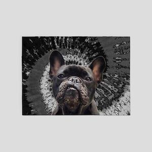Black Pug 5'x7'Area Rug