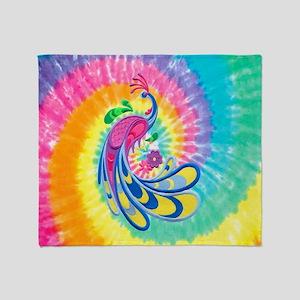 Rainbow Peacock Throw Blanket