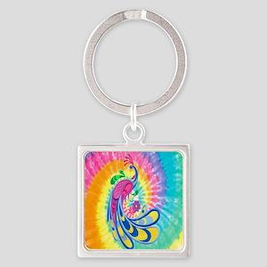 Rainbow Peacock Square Keychain