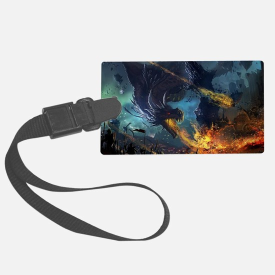 Spitting Fire Dragon Attack Luggage Tag