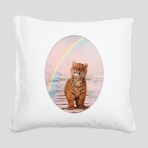 A tiger on the Rainbow Bridge Square Canvas Pillow